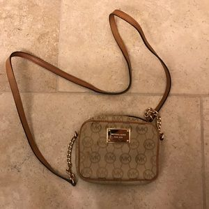 Michael Kors Cream and Brown Leather Crossbody Bag